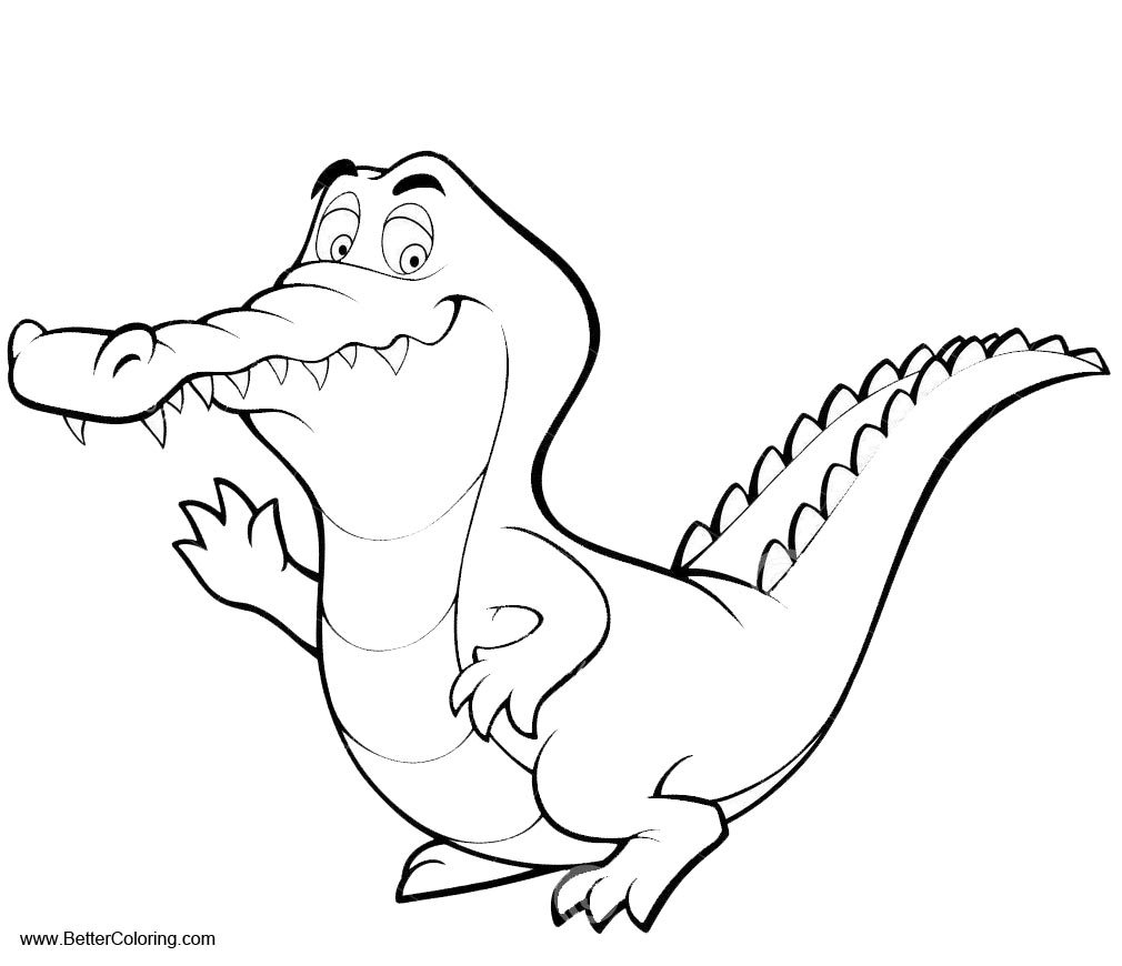 Free Cartoon Crocodiles Coloring Pages Line Drawing printable