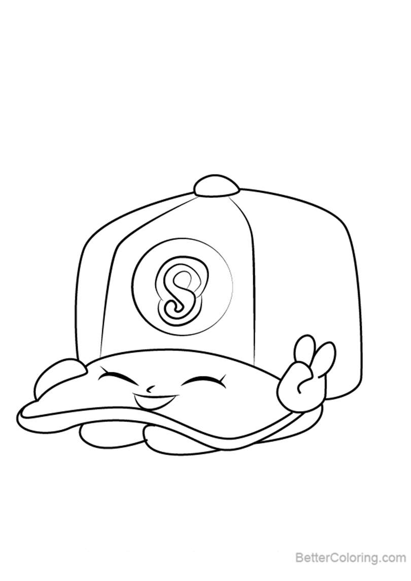 Free Casper Cap from Shopkins Coloring Pages printable