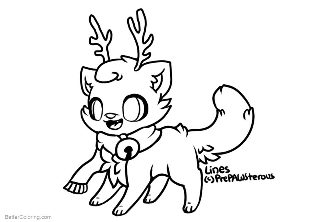 Free Cat Coloring Pages Catdeer by prepawsterous printable