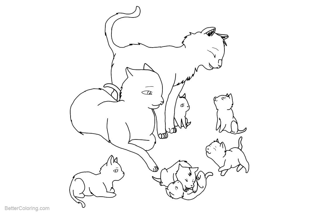 Free Cat Coloring Pages Family Outlined by rjtheawsome11 printable