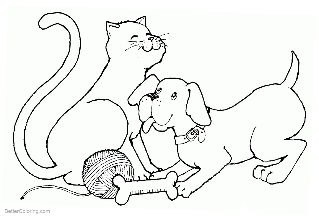 Free Cat and Dog Coloring Pages Playing printable