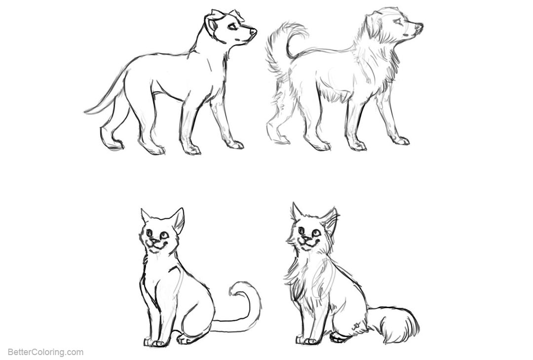 Free Cat and Dog Coloring Pages Realistic wip by mauston girl printable