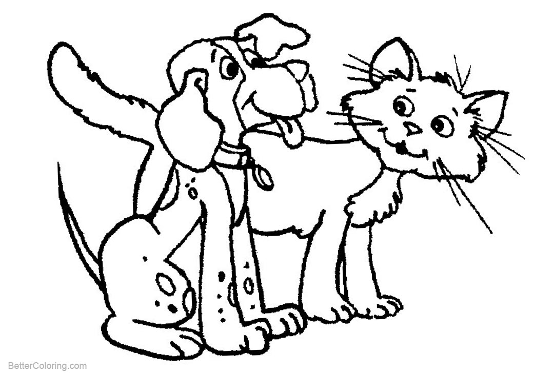 Free Cat and Dog Coloring Pages Sketch printable