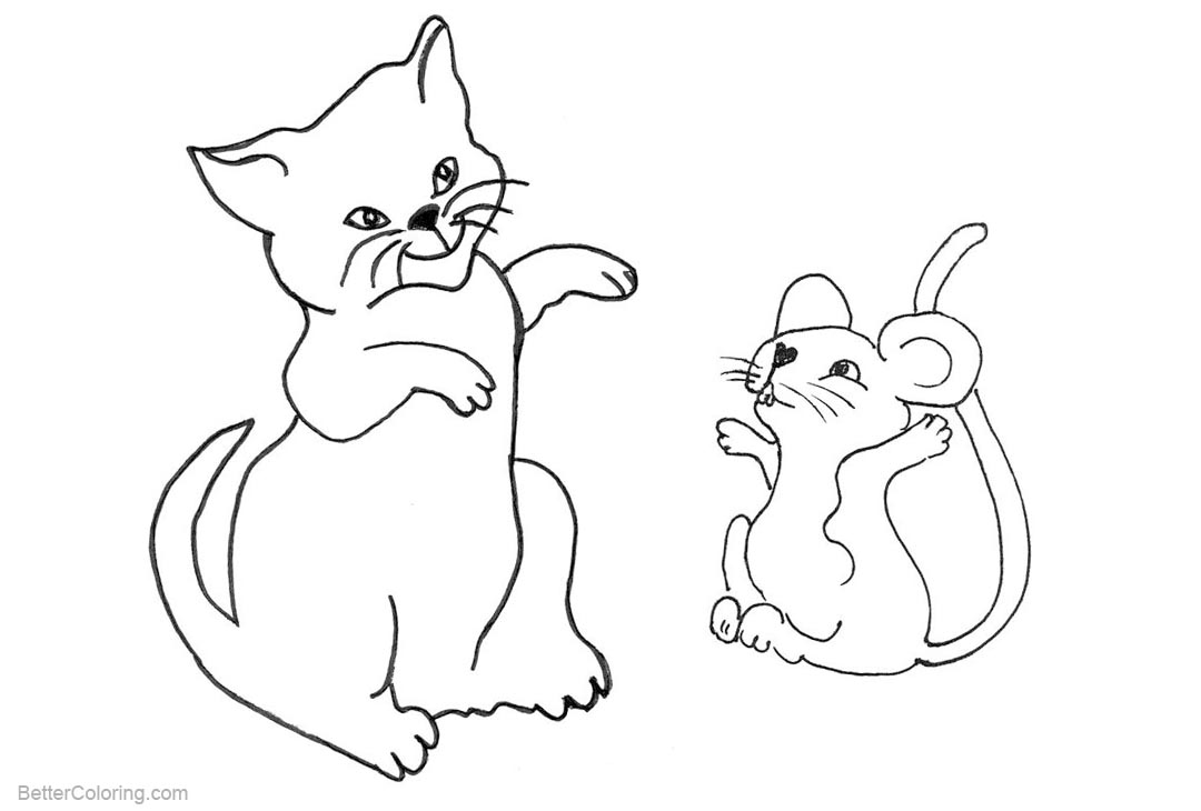 Free Cat and Mouse Coloring Pages printable