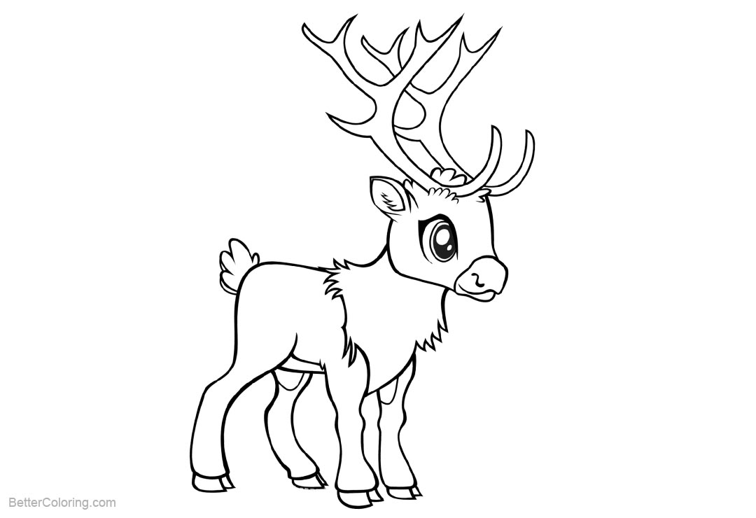 Free Chibi Reindeer Coloring Pages by viergacht printable