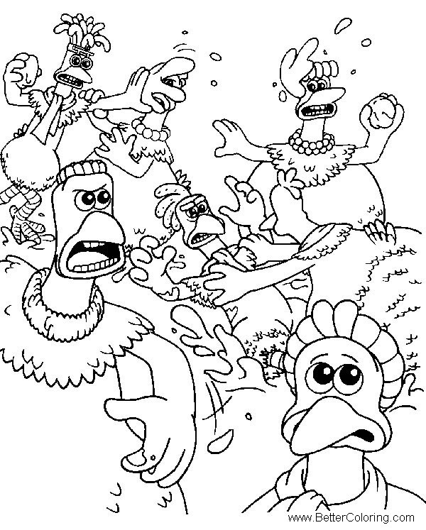 Free Chicken Run Coloring Pages Chicken Fight printable