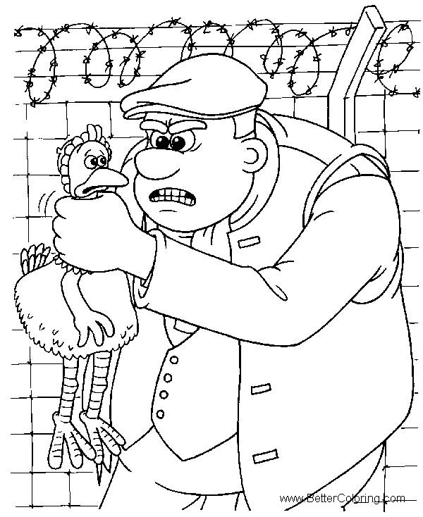 Free Chicken Run Coloring Pages Ginger was Caught printable