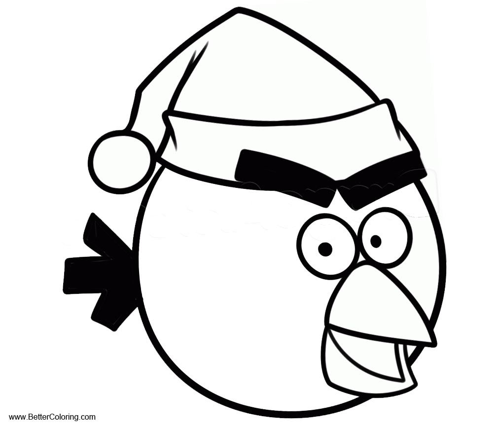 Christmas Angry Birds Coloring Pages with Hat - Free Printable ...