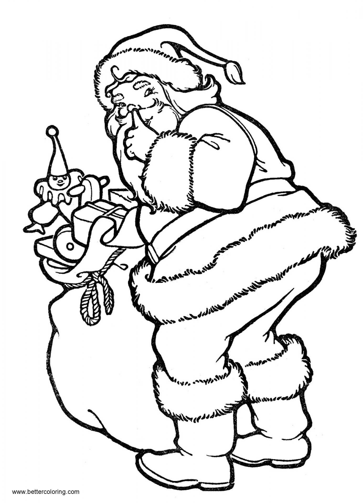 Christmas Coloring Pages Cute Santa With Toys - Free ...