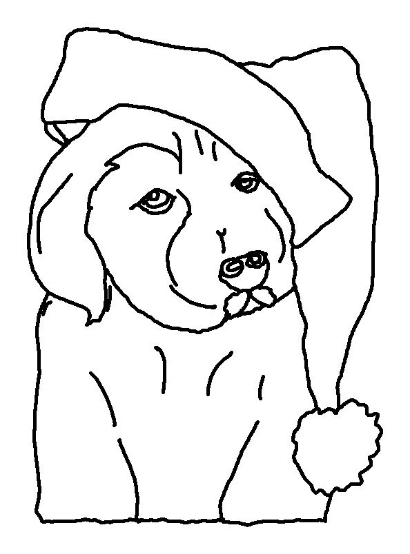 Free Christmas Dog Coloring Pages Lineart printable