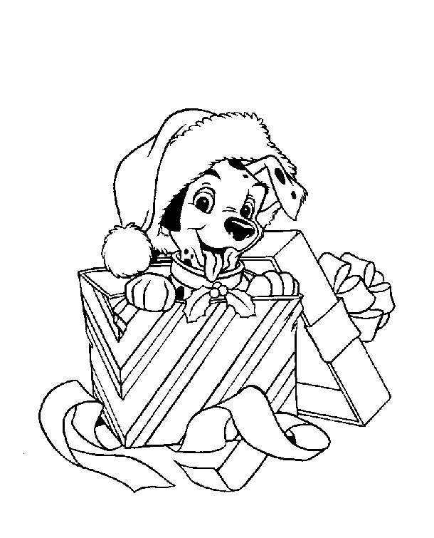 Free Christmas Dog Coloring Pages in Hat printable