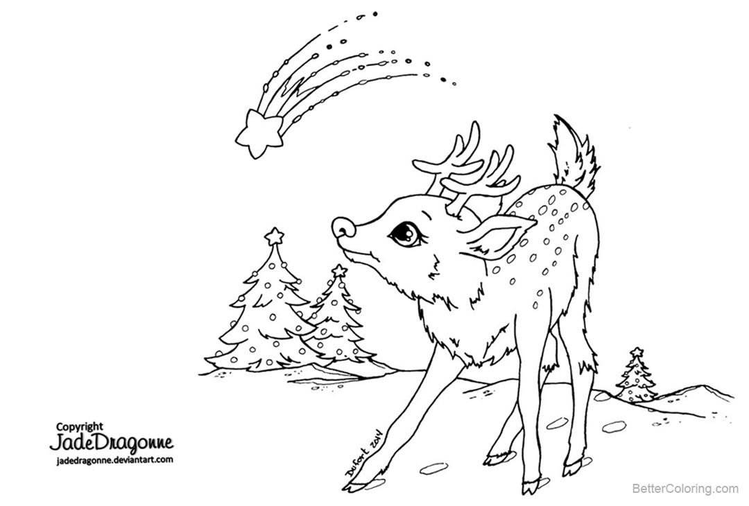 Christmas Reindeer Coloring Pages by jadedragonne - Free Printable ...
