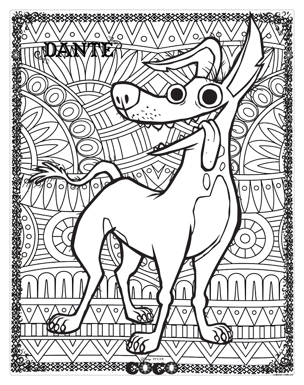 Free Coco Coloring Pages Dog Dante for Adults printable