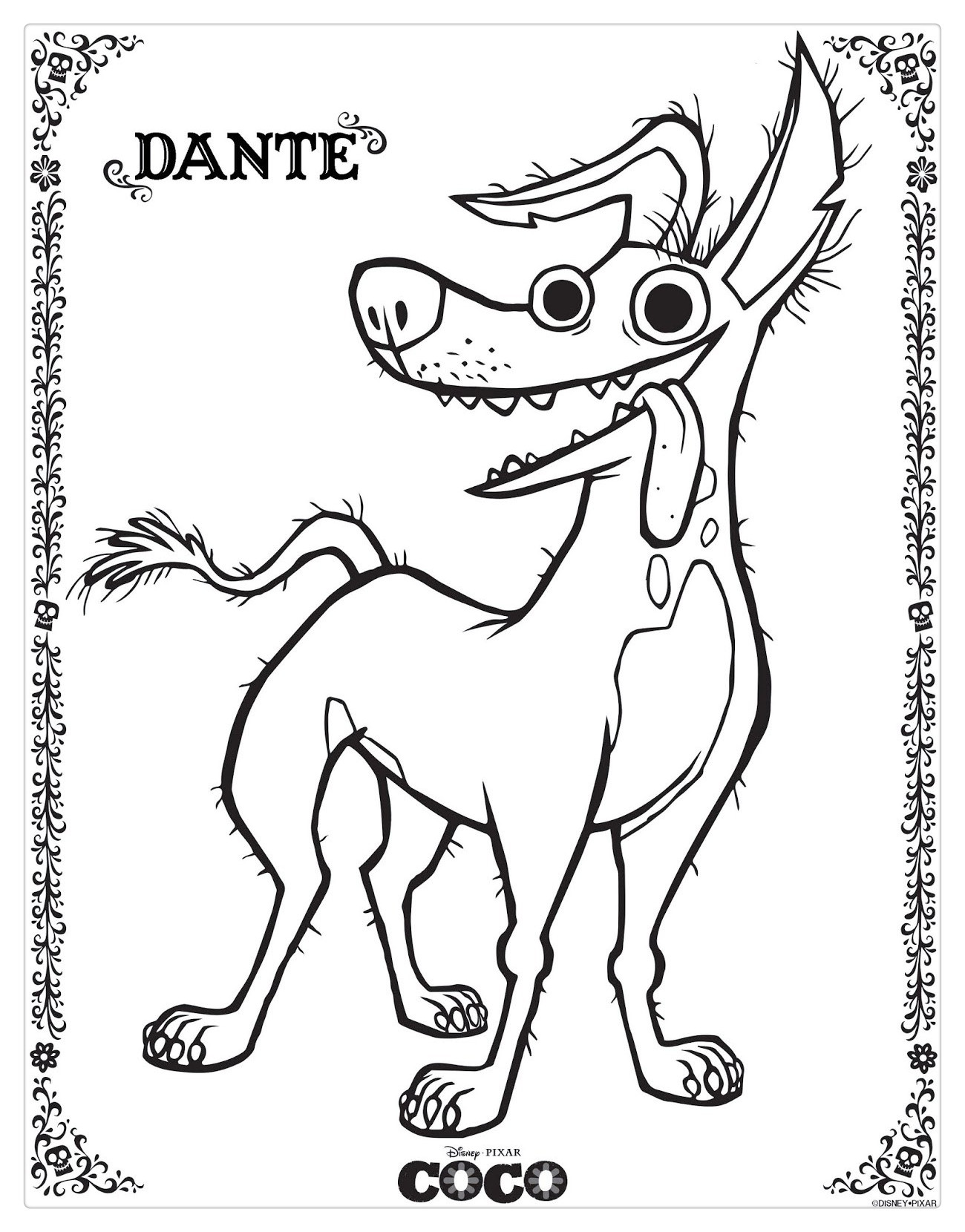 Free Coco Coloring Pages Dog Dante printable