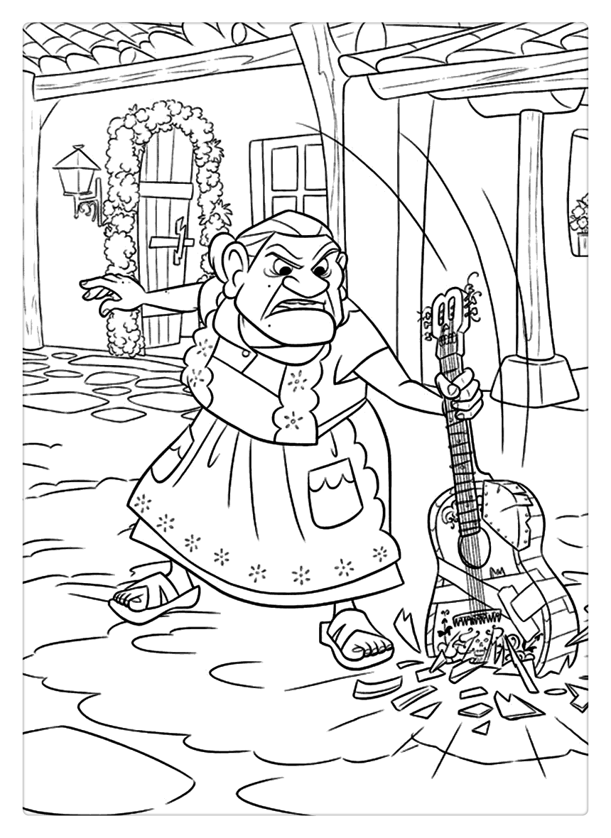 Coco Coloring Pages Grandma and Guitar Free Printable