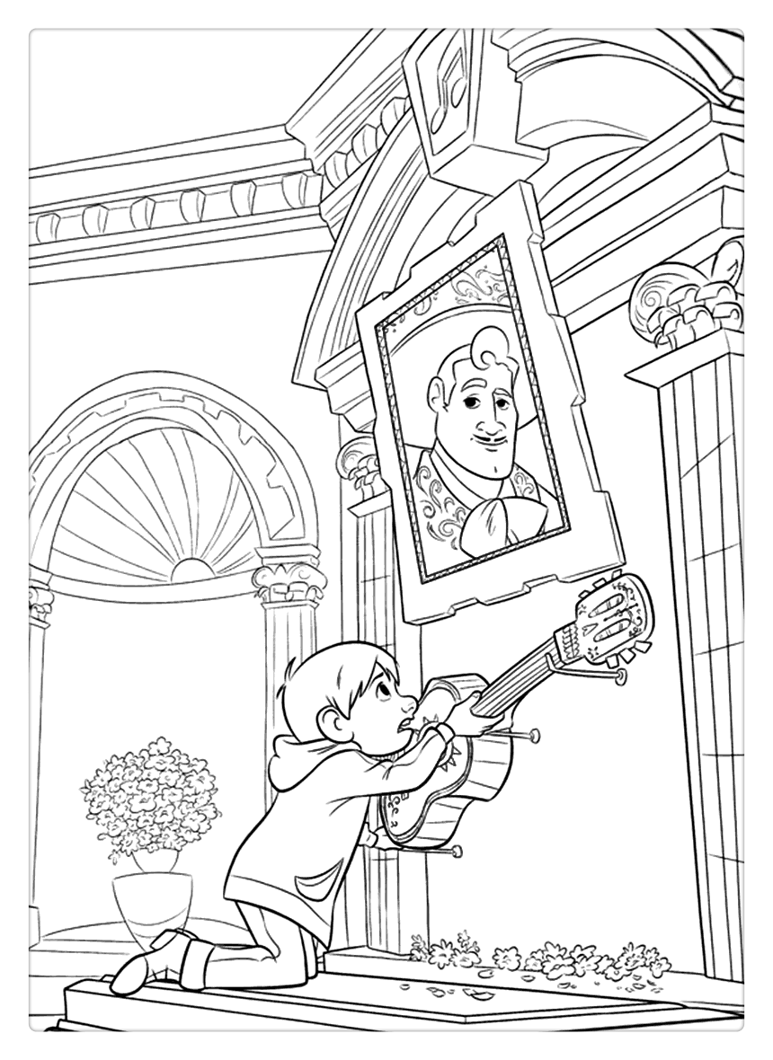 Coco Coloring Pages Miguel Find The Guitar