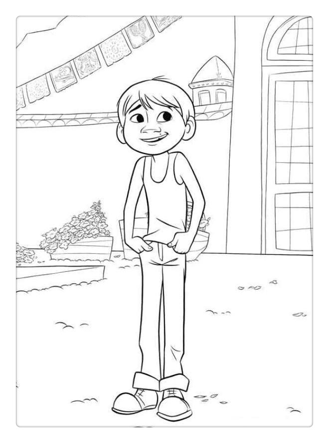 Free Coco Coloring Pages Miguel Line Drawing printable