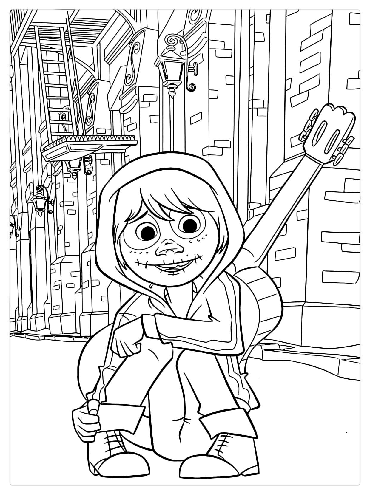 Coco Coloring Pages Miguel Lineart Free Printable