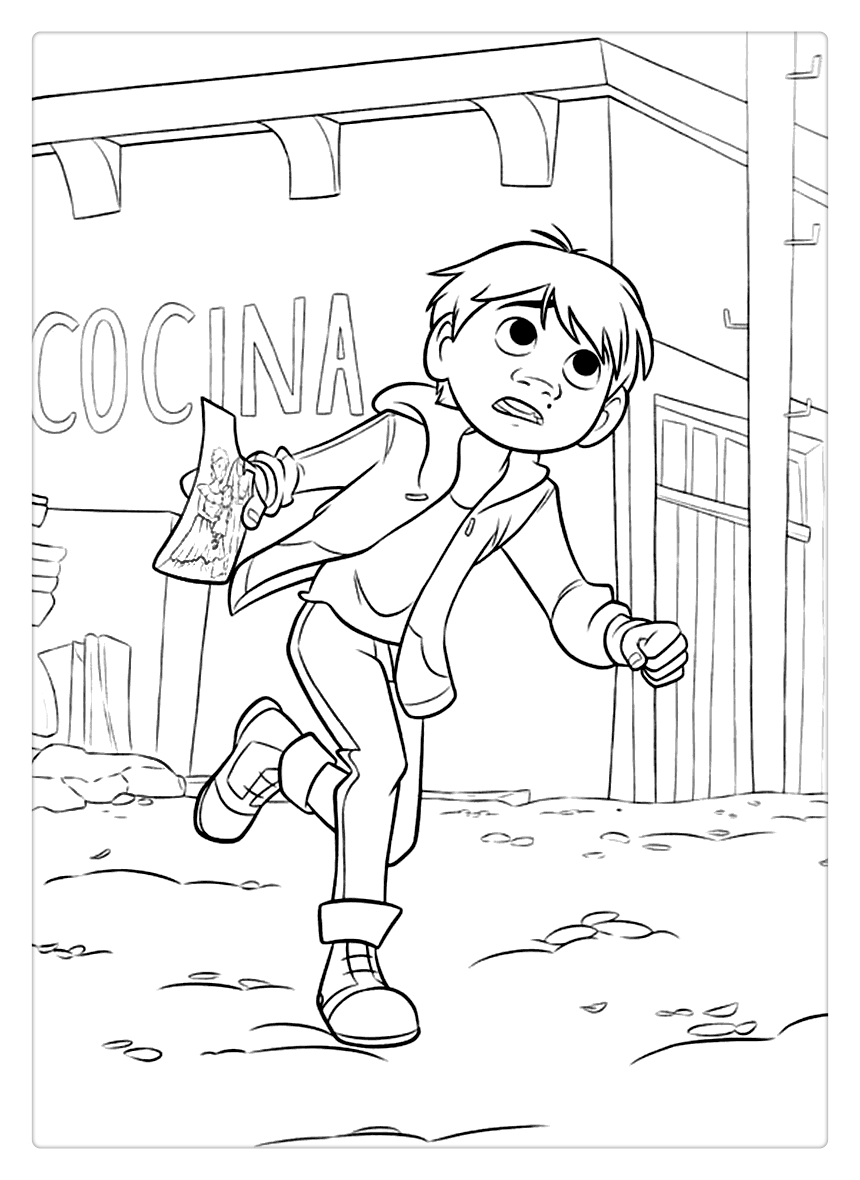 Free Coco Coloring Pages Miguel is Running printable