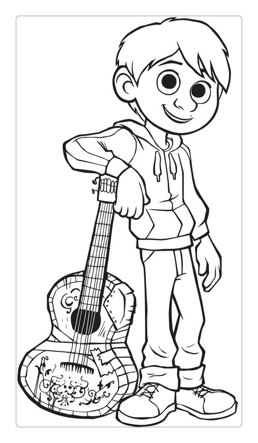 Free Coco Coloring Pages with Guitar printable