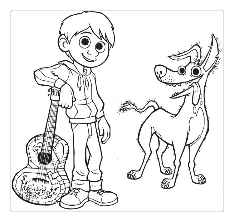 Coco Coloring Pages with Pet Dante
