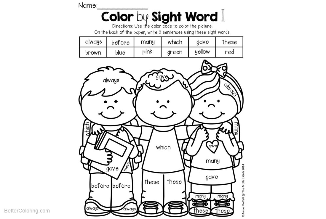 Free Color by Sight Word Coloring Pages Three Kids printable