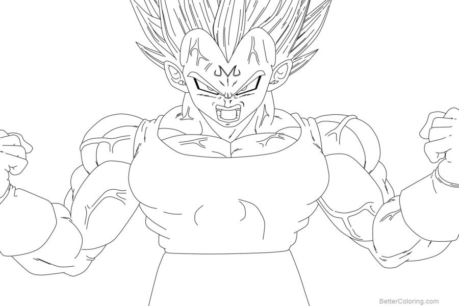 Free Coloring Pages of Vegeta Lineart 1 by ElyasArts printable
