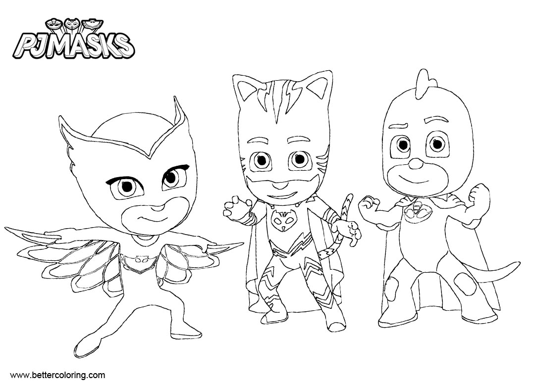Free Connor Catboy Coloring Pages Owlette and Gekko printable