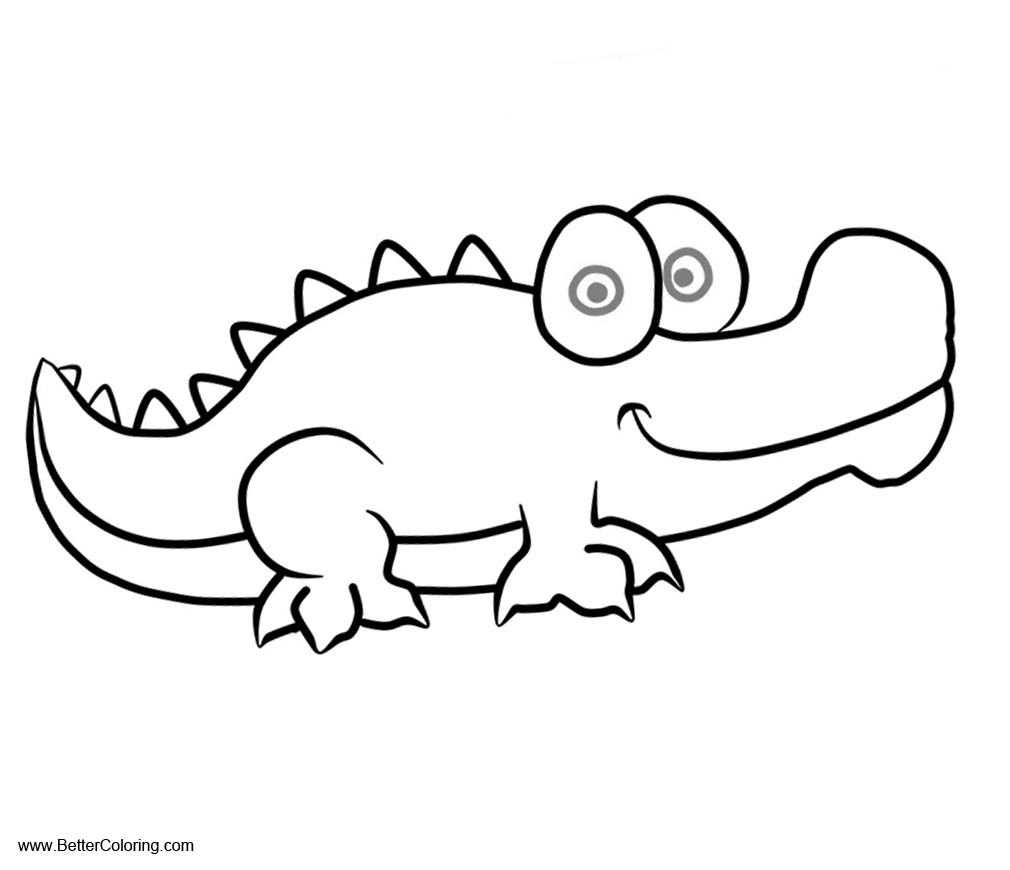 Free Crocodiles Coloring Pages Simple Drawing printable