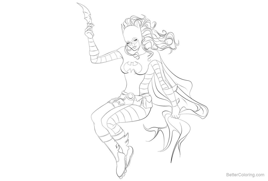 Free DC Super Hero Coloring Pages of Batgirl by ayhe printable
