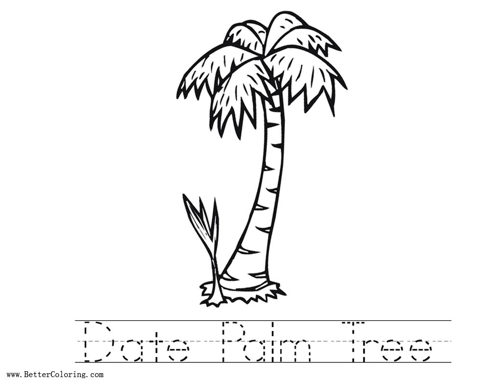 palm tree printable coloring pages | Date Palm Tree Coloring Pages Worksheets - Free Printable ...