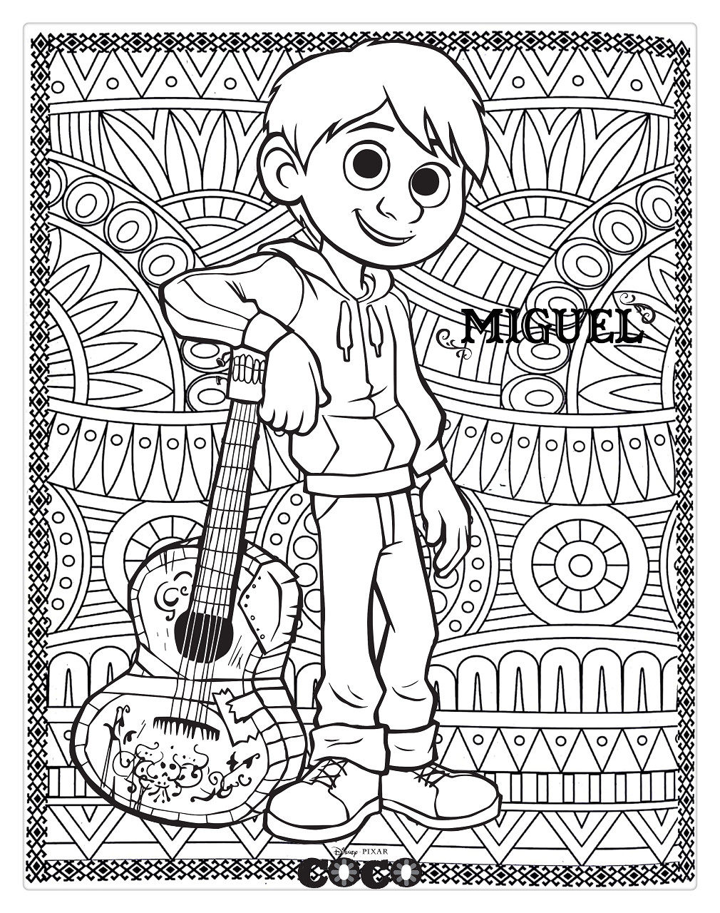 Free Disney Coco Coloring Pages Miguel for Adults printable