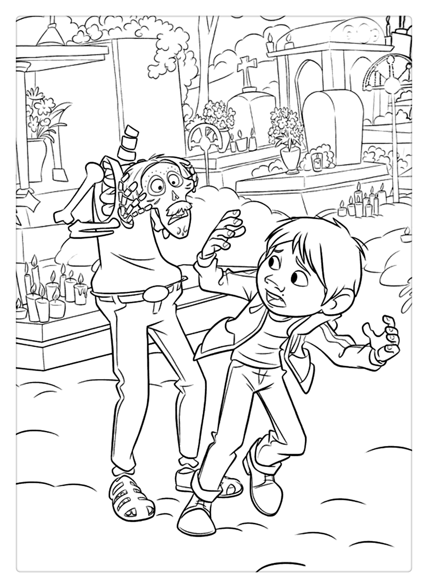 Free Disney Coco Coloring Pages Miguel was Scared by Skeleton printable