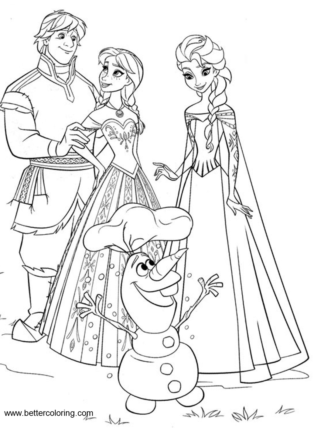 Disney Frozen Characters Coloring Pages - Free Printable Coloring Pages