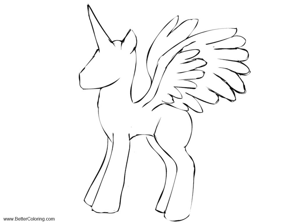 Easy Alicorn Coloring Pages outline by glue123 Free