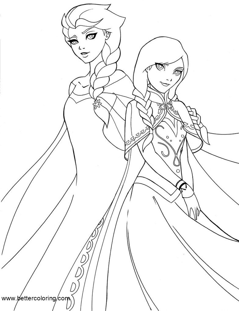 Free Elsa And Anna Coloring Pages By Shakav088 Printable For Kids Adults