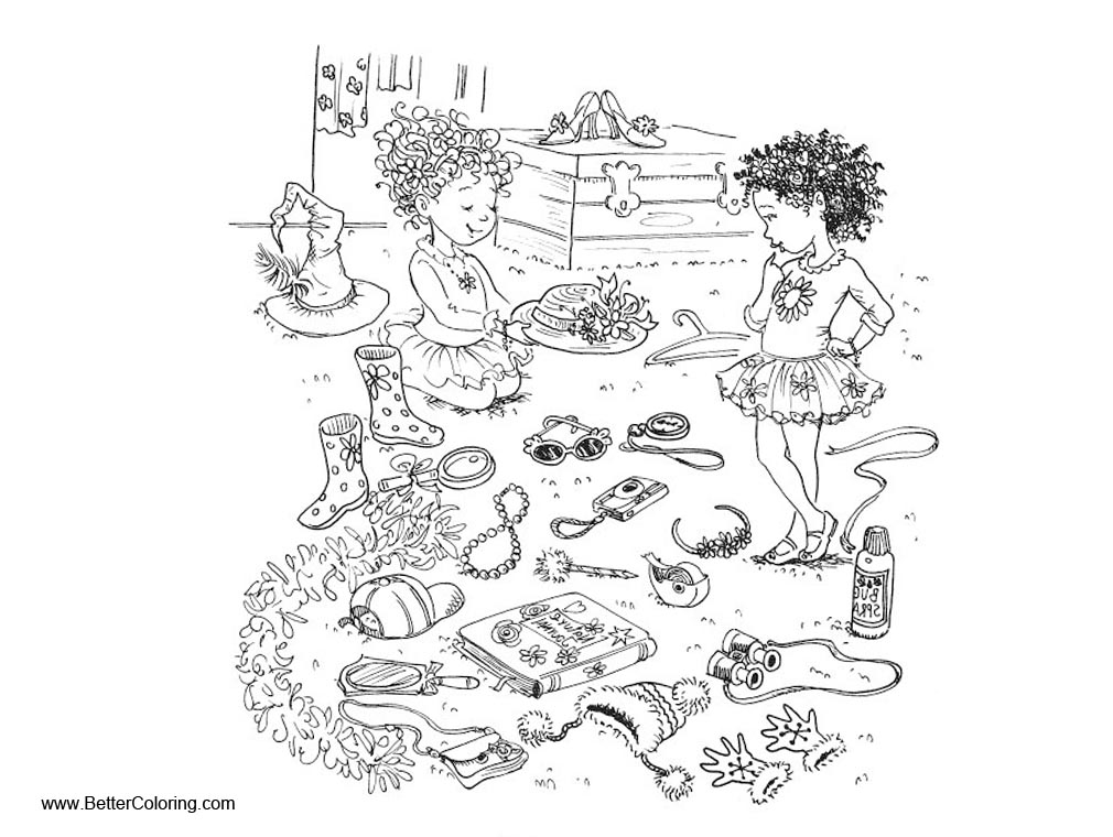 fancy nancy coloring pages play toys with friends