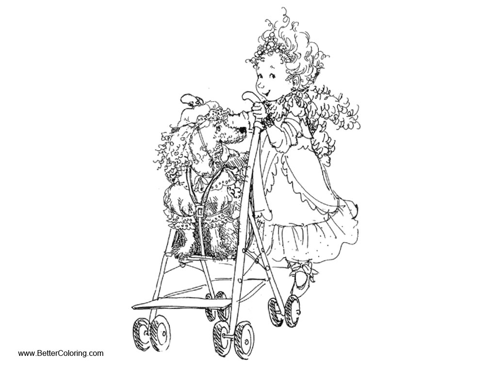 Free Fancy Nancy Coloring Pages with Dog printable