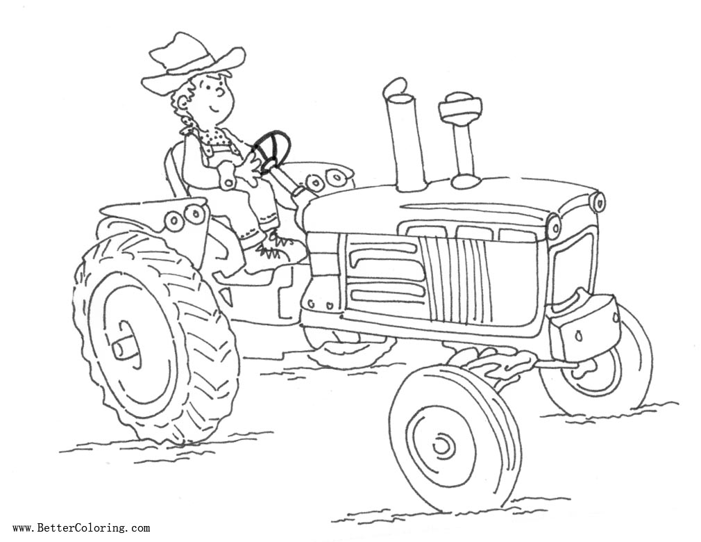 farmer on tractor coloring pages - photo#2