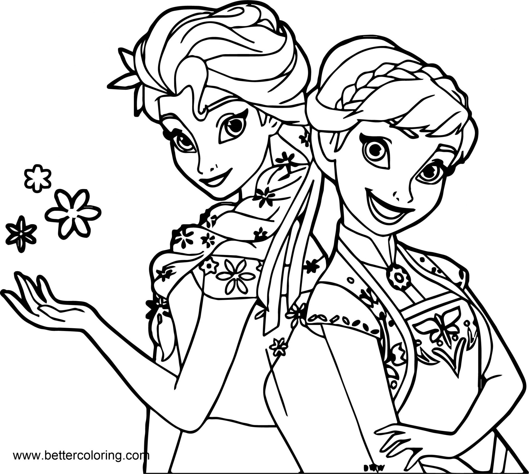 Frozen Elsa And Anna Coloring Pages Free Printable Coloring Pages
