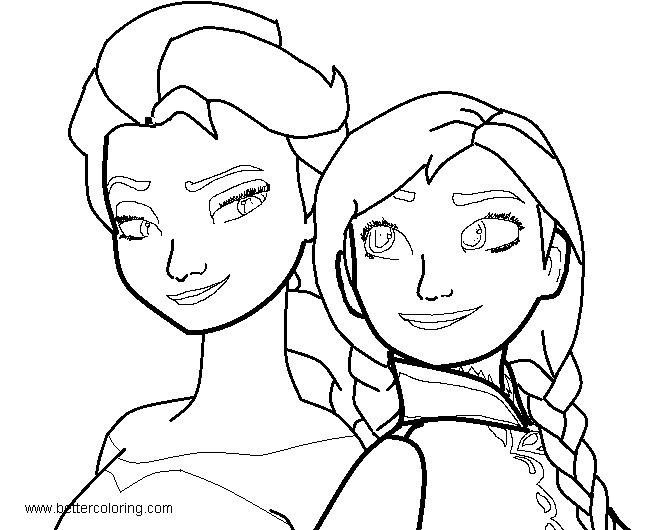 Frozen Elsa And Anna Coloring Pages Base By Demi Mlp Free