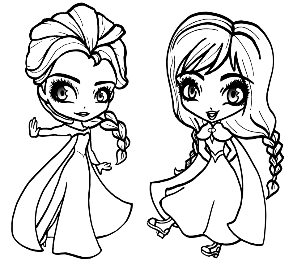 Free Frozen Princess Coloring Pages Chibi Anna and Elsa printable