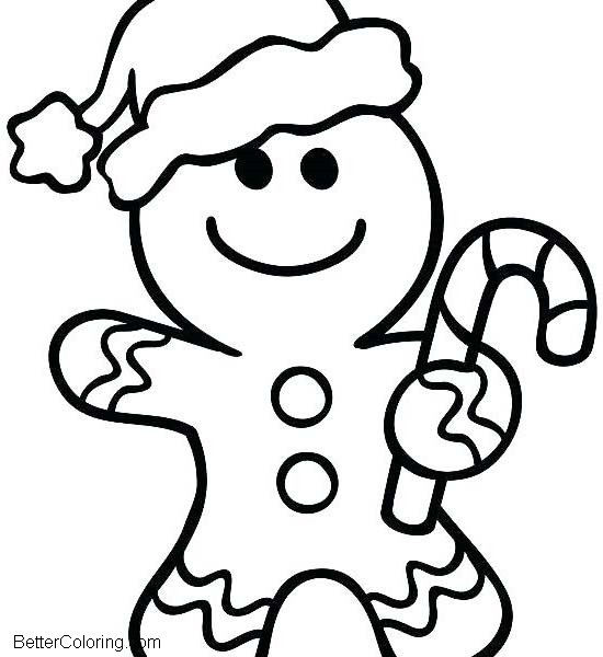 Gingerbread Man in Winter Coloring Pages - Free Printable Coloring Pages