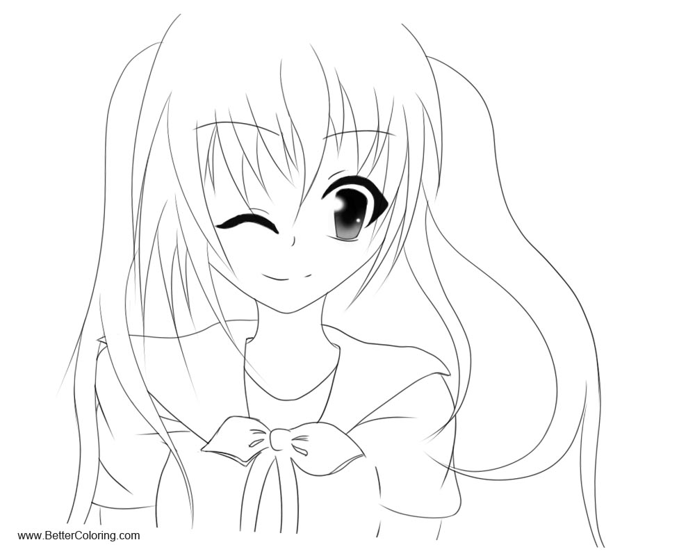 Girly Coloring Pages Anime Girl by BlackLegendzz Free
