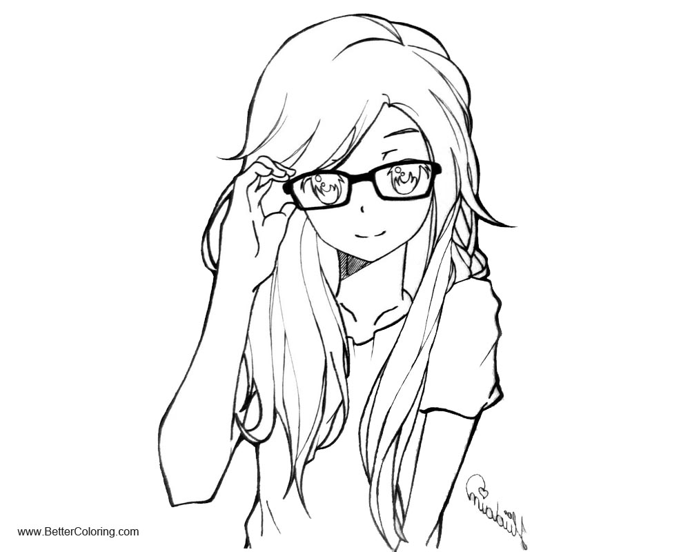 Girly Coloring Pages Anime Lineart by hudaim Free