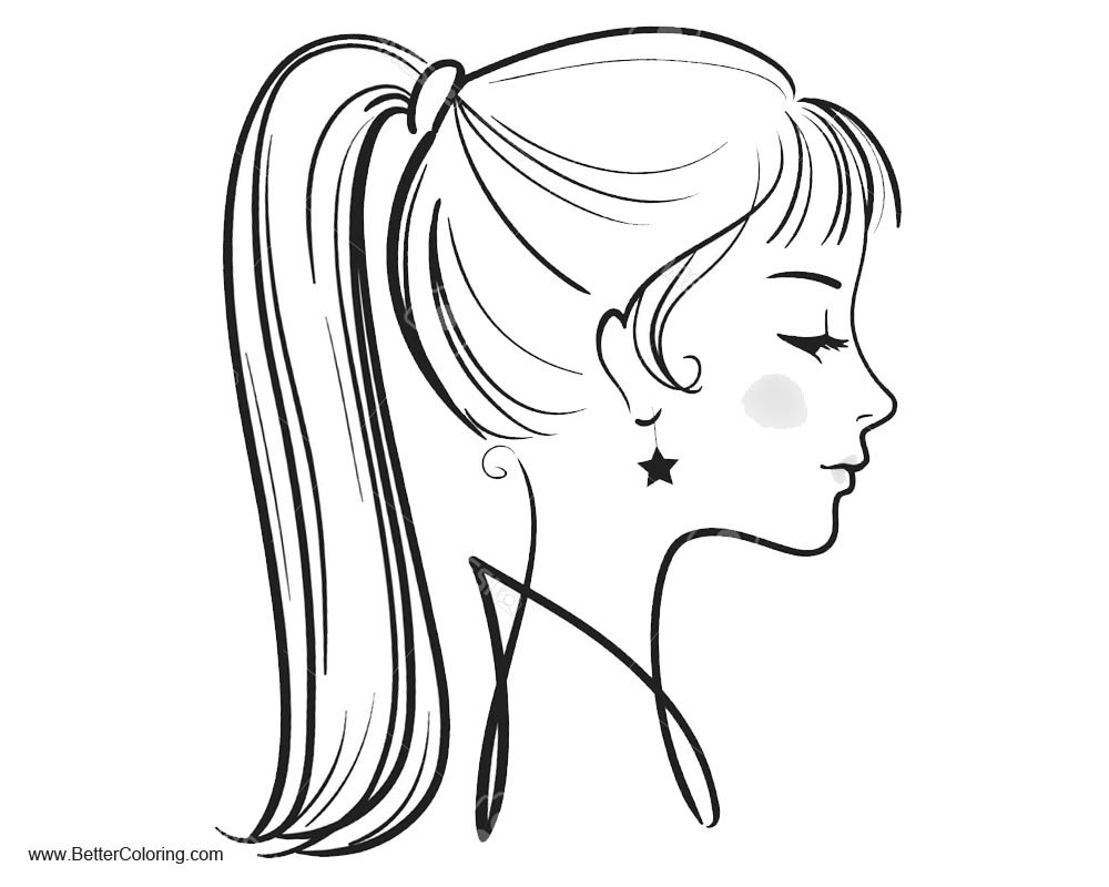 Free Girly Coloring Pages Beautiful Face printable