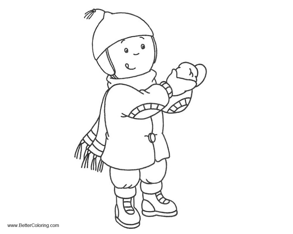 Free Girly Coloring Pages Girl in Winter printable