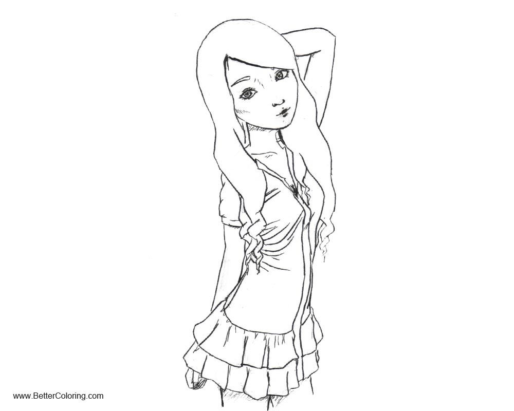 Free Girly Coloring Pages Line Drawing Girl by caseycrown printable