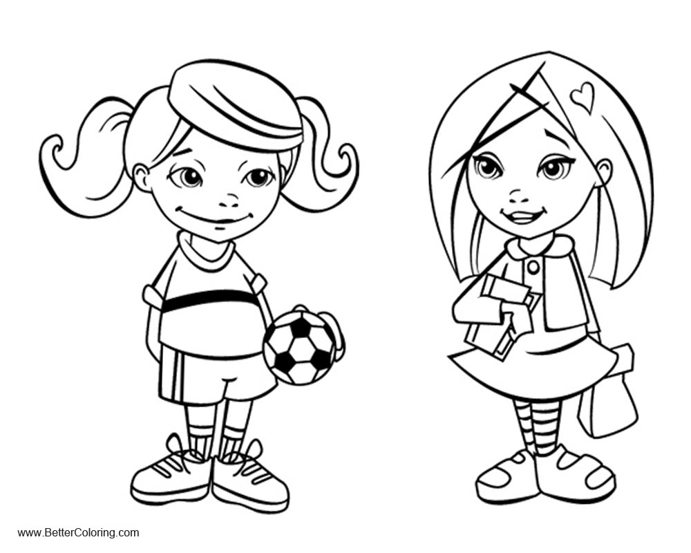 Free Girly Coloring Pages School Girl and Sports Girl printable