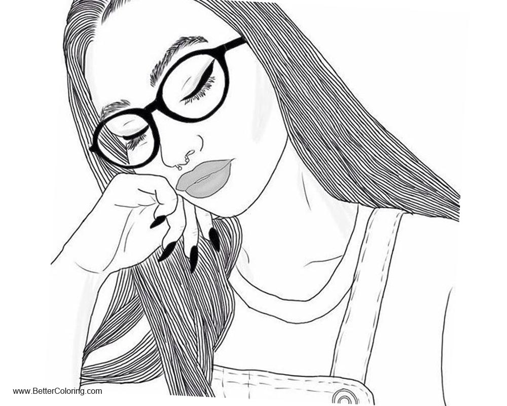 Girly Coloring Pages Sleepy Girl